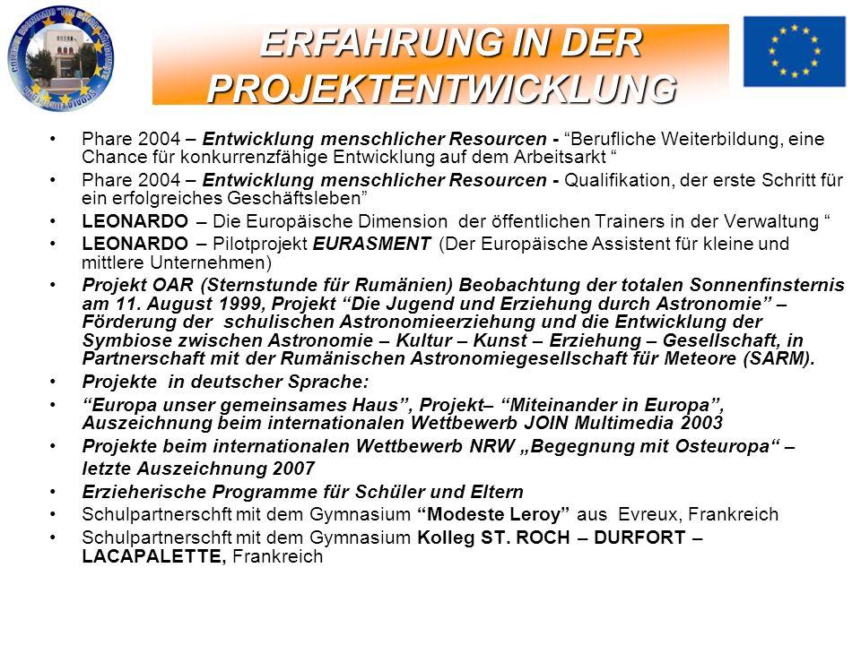 Phare 2004 – Entwicklung menschlicher Resourcen - Berufliche Weiterbildung, eine Chance für konkurrenzfähige Entwicklung auf dem Arbeitsarkt Phare 200