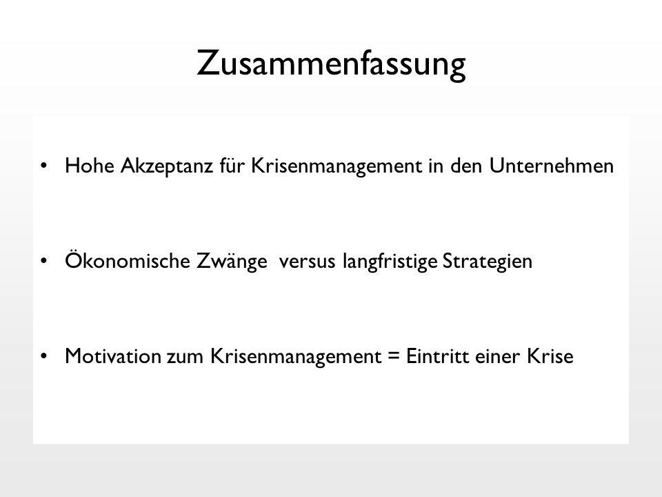 Zusammenfassung Hohe Akzeptanz für Krisenmanagement in den Unternehmen Ökonomische Zwänge versus langfristige Strategien Motivation zum Krisenmanageme