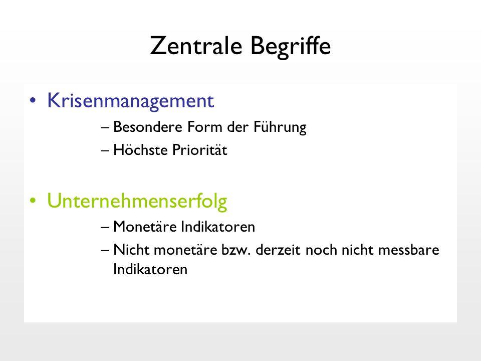 Zentrale Begriffe Krisenmanagement –Besondere Form der Führung –Höchste Priorität Unternehmenserfolg –Monetäre Indikatoren –Nicht monetäre bzw. derzei