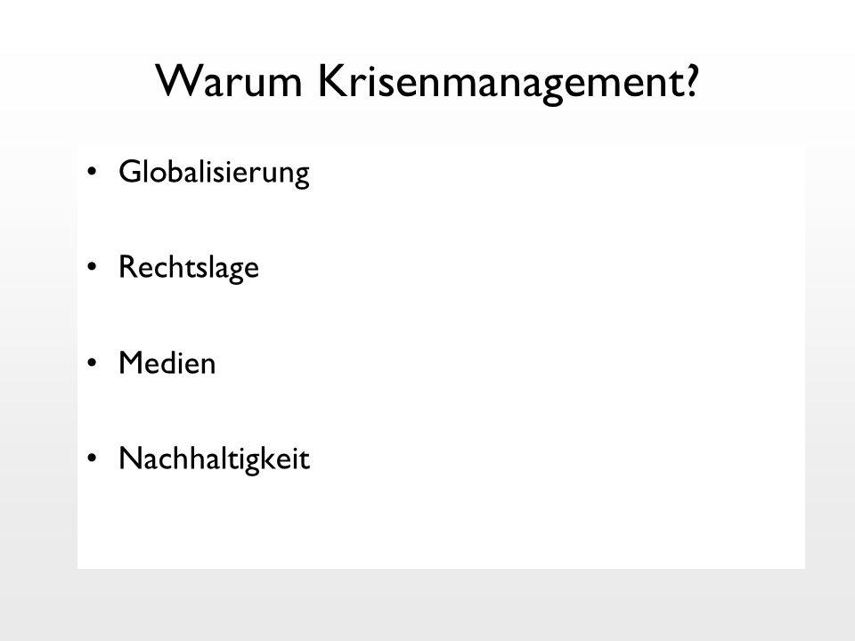 Warum Krisenmanagement? Globalisierung Rechtslage Medien Nachhaltigkeit