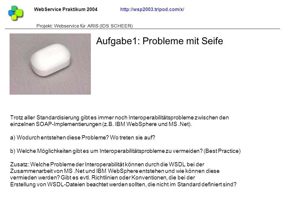WebService Praktikum 2004http://wsp2003.tripod.com/x/ Projekt: Webservice für ARIS (IDS SCHEER) Trotz aller Standardisierung gibt es immer noch Intero