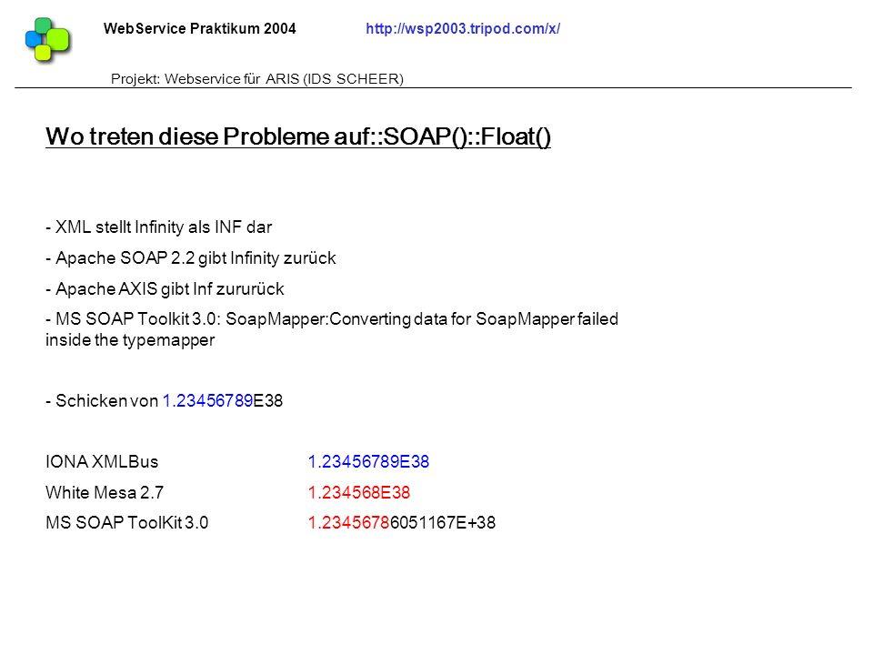 WebService Praktikum 2004http://wsp2003.tripod.com/x/ Projekt: Webservice für ARIS (IDS SCHEER) - XML stellt Infinity als INF dar - Apache SOAP 2.2 gi