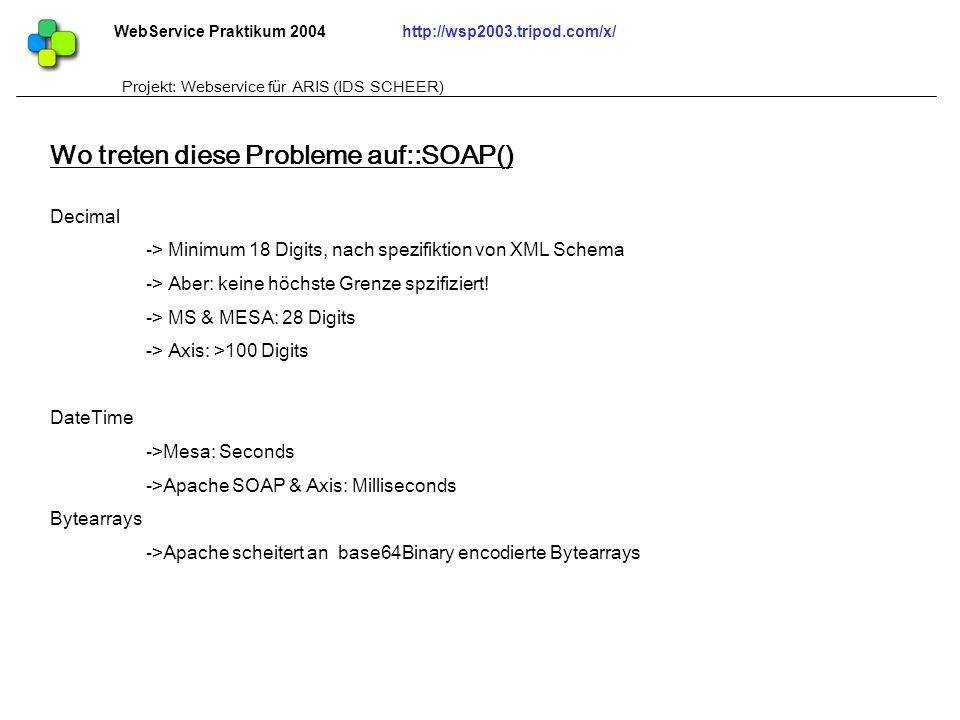 WebService Praktikum 2004http://wsp2003.tripod.com/x/ Projekt: Webservice für ARIS (IDS SCHEER) Decimal -> Minimum 18 Digits, nach spezifiktion von XM
