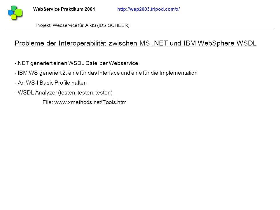 WebService Praktikum 2004http://wsp2003.tripod.com/x/ Projekt: Webservice für ARIS (IDS SCHEER) -.NET generiert einen WSDL Datei per Webservice - IBM