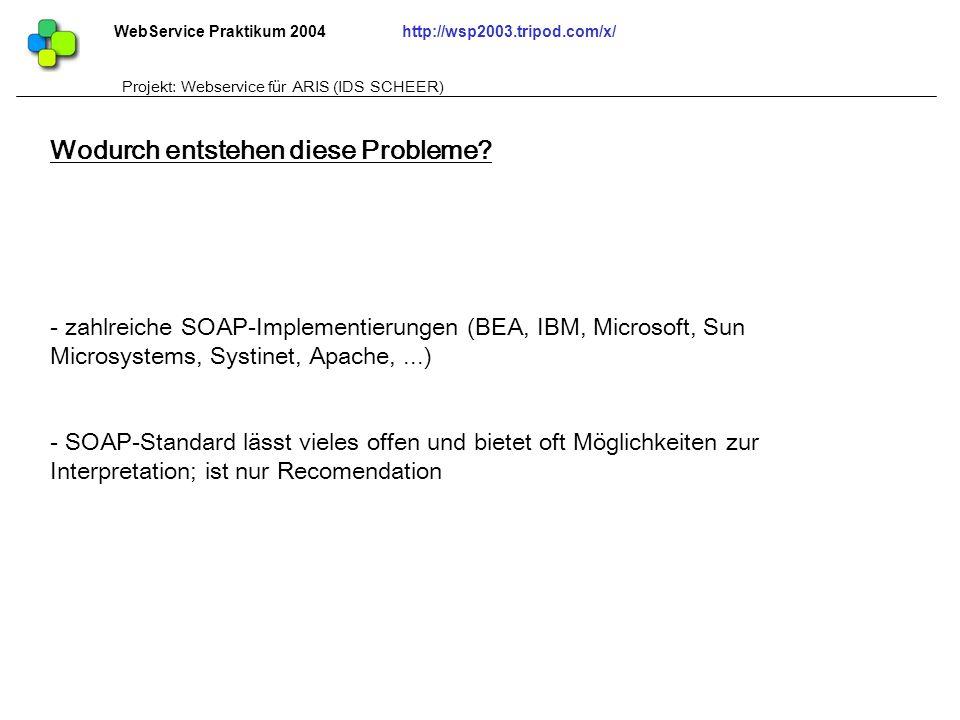 WebService Praktikum 2004http://wsp2003.tripod.com/x/ Projekt: Webservice für ARIS (IDS SCHEER) - zahlreiche SOAP-Implementierungen (BEA, IBM, Microso