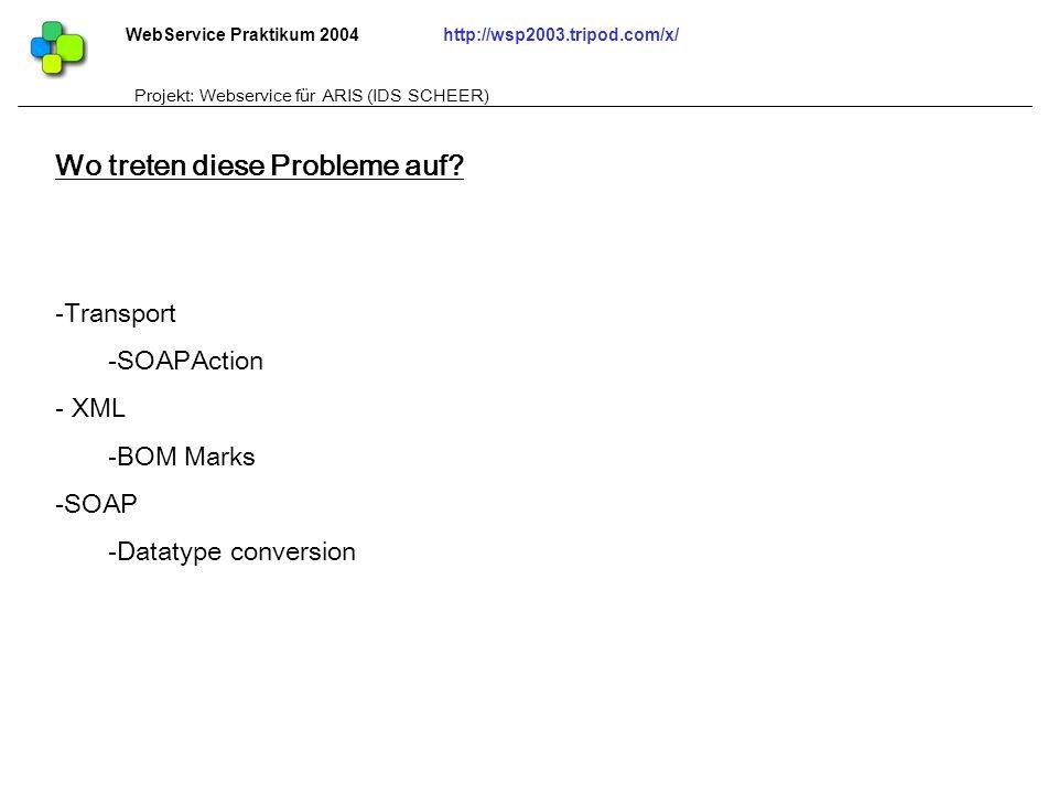 WebService Praktikum 2004http://wsp2003.tripod.com/x/ Projekt: Webservice für ARIS (IDS SCHEER) -Transport -SOAPAction - XML -BOM Marks -SOAP -Datatyp