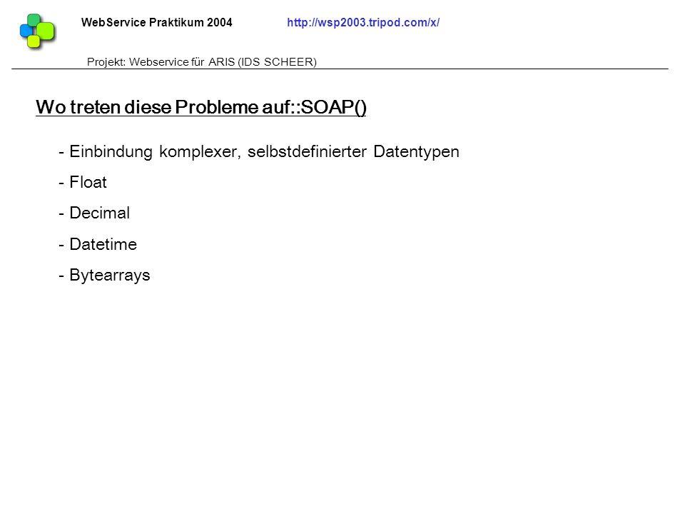 WebService Praktikum 2004http://wsp2003.tripod.com/x/ Projekt: Webservice für ARIS (IDS SCHEER) - Einbindung komplexer, selbstdefinierter Datentypen -