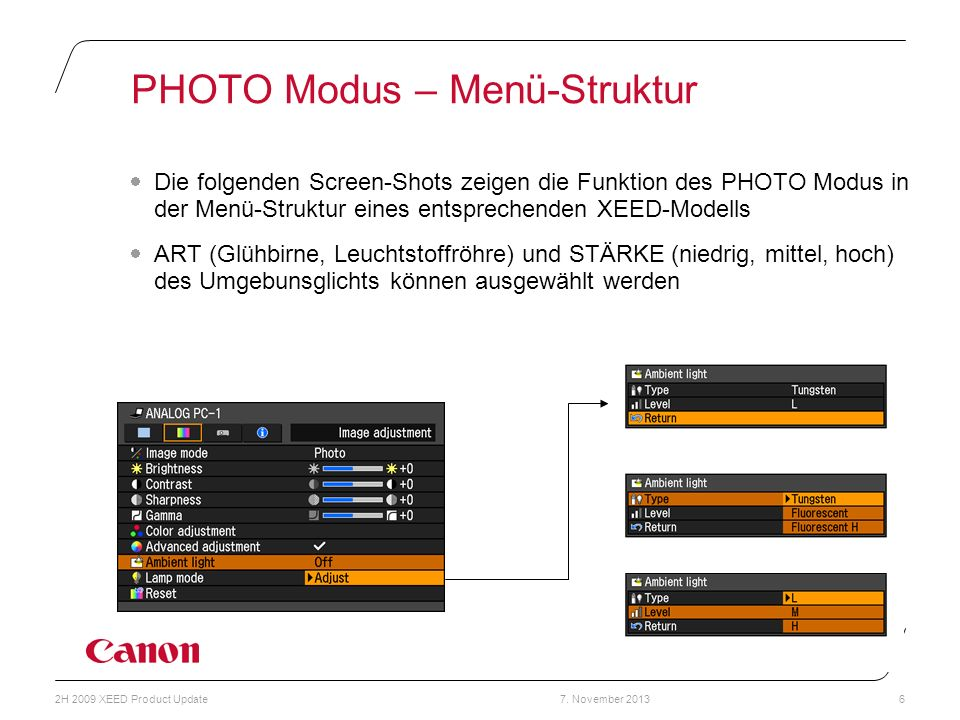 7. November 20132H 2009 XEED Product Update6 PHOTO Modus – Menü-Struktur Die folgenden Screen-Shots zeigen die Funktion des PHOTO Modus in der Menü-St