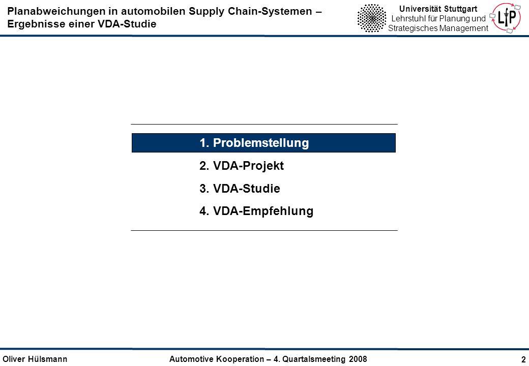 Planabweichungen in automobilen Supply Chain-Systemen – Ergebnisse einer VDA-Studie Oliver Hülsmann Automotive Kooperation – 4. Quartalsmeeting 2008 U