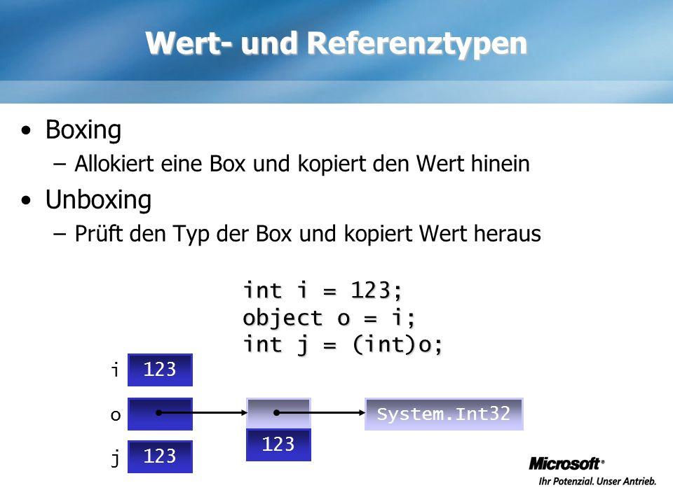 Wert- und Referenztypen Boxing –Allokiert eine Box und kopiert den Wert hinein Unboxing –Prüft den Typ der Box und kopiert Wert heraus int i = 123; ob