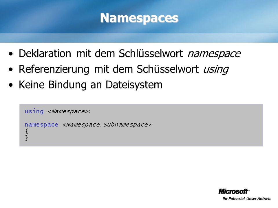 Namespaces Deklaration mit dem Schlüsselwort namespace Referenzierung mit dem Schüsselwort using Keine Bindung an Dateisystem using ; namespace { }