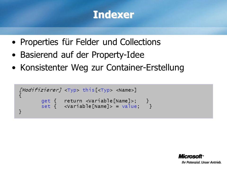 Indexer Properties für Felder und Collections Basierend auf der Property-Idee Konsistenter Weg zur Container-Erstellung [Modifizierer] this[ ] { get {