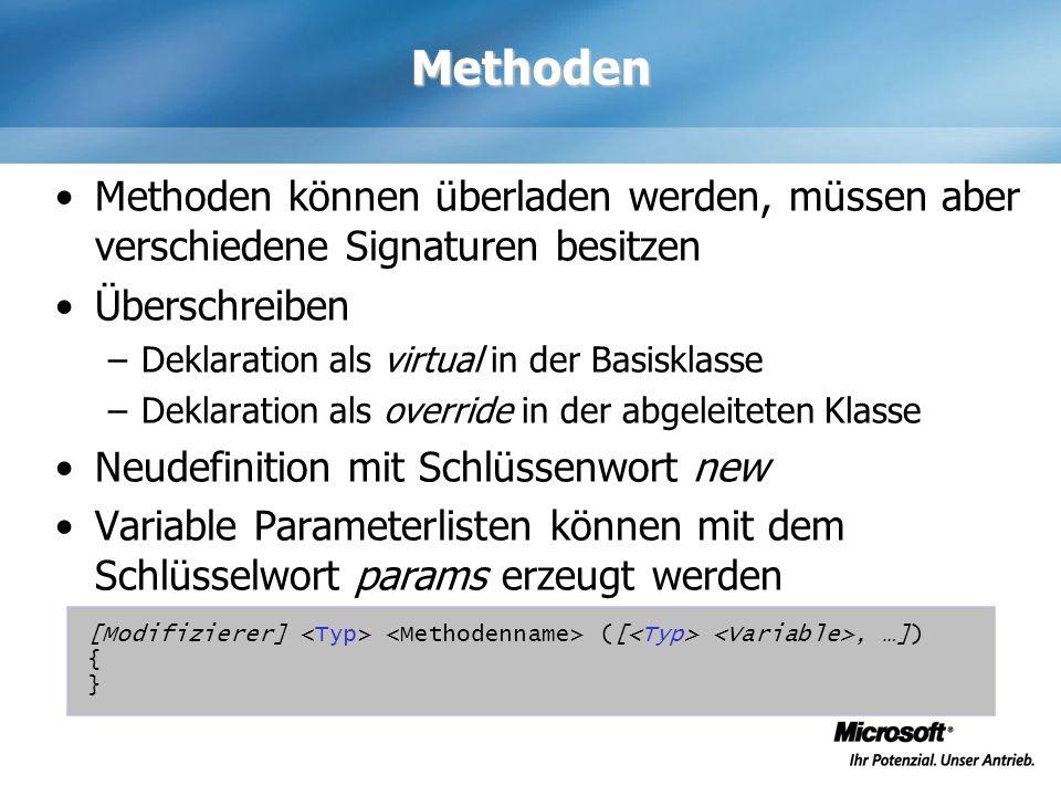 Methoden Methoden können überladen werden, müssen aber verschiedene Signaturen besitzen Überschreiben –Deklaration als virtual in der Basisklasse –Dek
