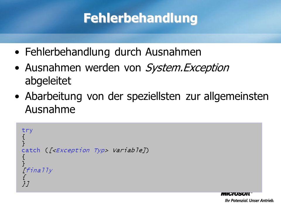 Fehlerbehandlung Fehlerbehandlung durch Ausnahmen Ausnahmen werden von System.Exception abgeleitet Abarbeitung von der speziellsten zur allgemeinsten