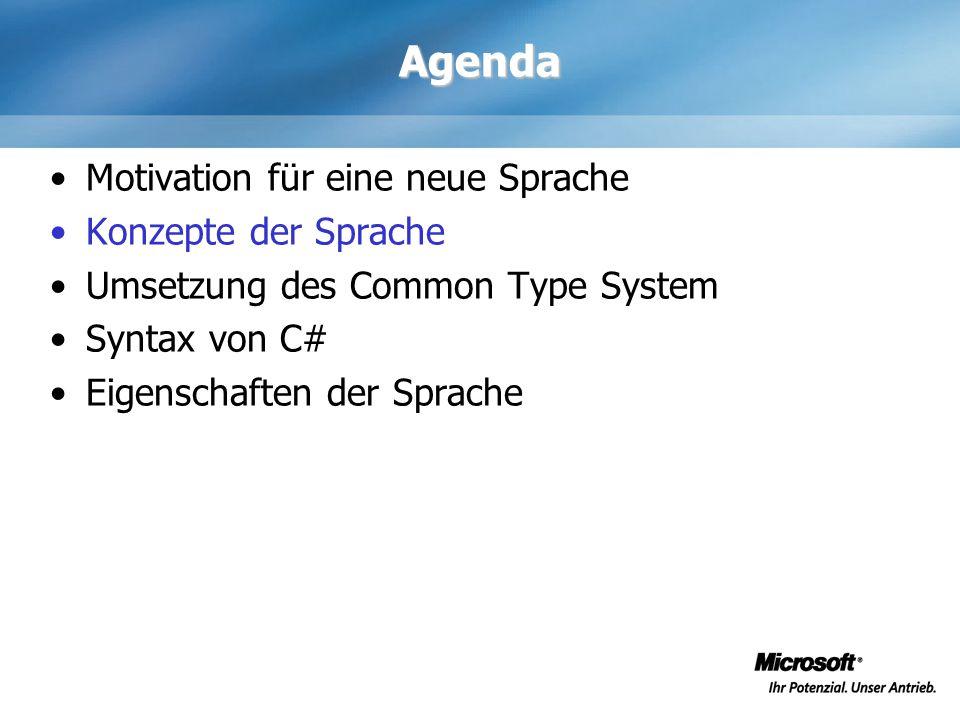 Agenda Motivation für eine neue Sprache Konzepte der Sprache Umsetzung des Common Type System Syntax von C# Eigenschaften der Sprache