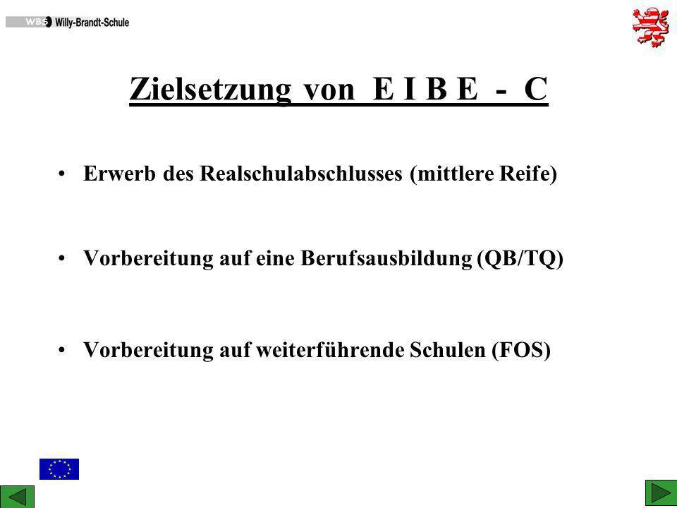 Zielsetzung von E I B E - C Erwerb des Realschulabschlusses (mittlere Reife) Vorbereitung auf eine Berufsausbildung (QB/TQ) Vorbereitung auf weiterfüh