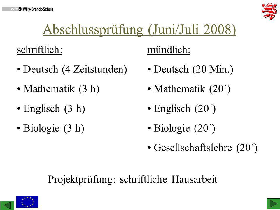 Abschlussprüfung (Juni/Juli 2008) schriftlich: Deutsch (4 Zeitstunden) Mathematik (3 h) Englisch (3 h) Biologie (3 h) mündlich: Deutsch (20 Min.) Math