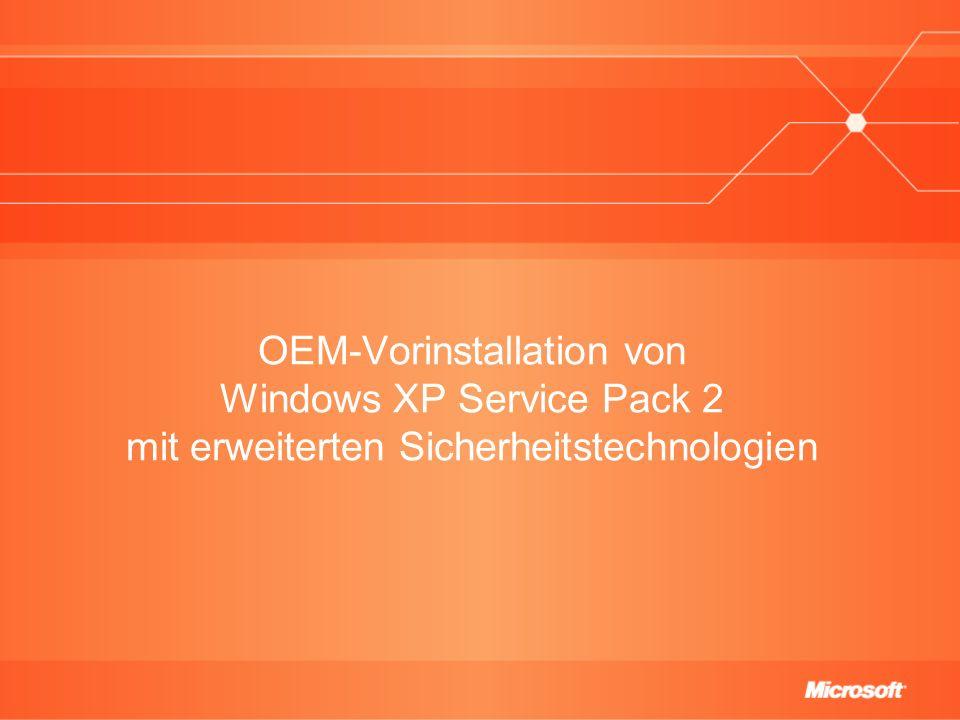 Agenda Einführung in das OEM Preinstallation Kit (OPK) Die Vorinstallation auf einen Blick Bezugsquellen für das OEM Preinstallation Kit und für Windows XP Service Pack 2 Installieren der OPK-Tools So integriert man Windows XP Service Pack 2 in eine vorhandene Freigabe für OPK-Tools Ausführen des Systemvorbereitungsprogramms (sysprep) Neuerungen in der OEM-Vorinstallation mit Windows XP SP2