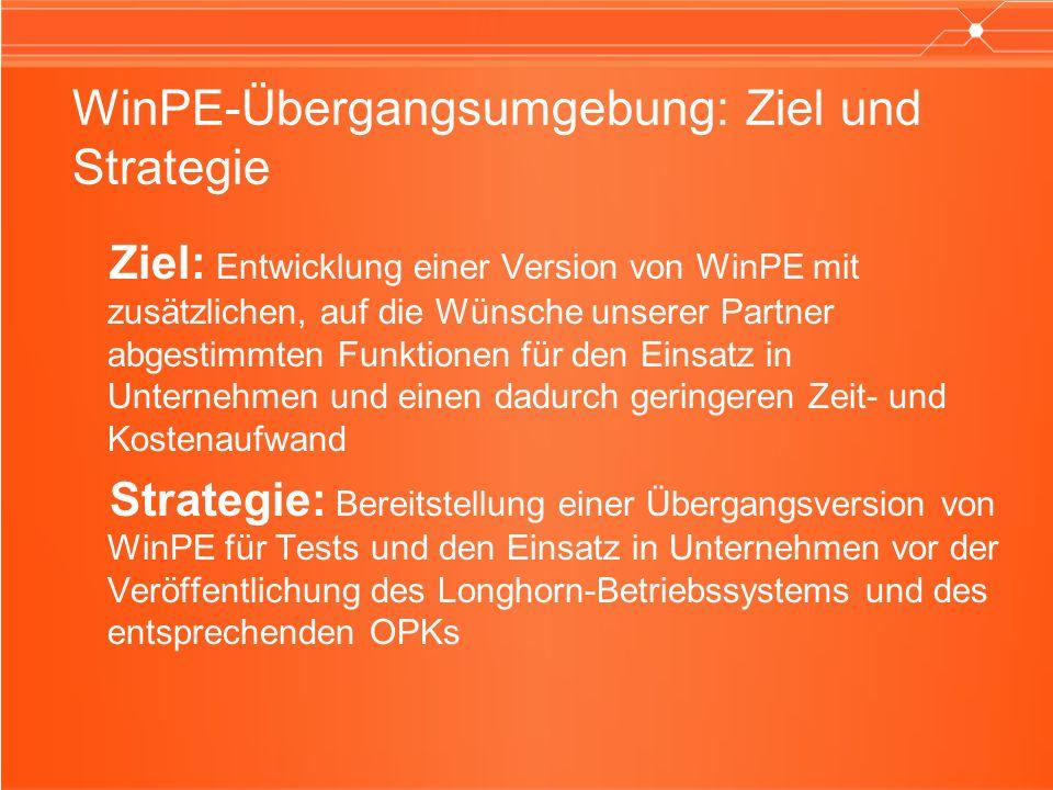 WinPE-Übergangsumgebung: Ziel und Strategie Ziel: Entwicklung einer Version von WinPE mit zusätzlichen, auf die Wünsche unserer Partner abgestimmten F