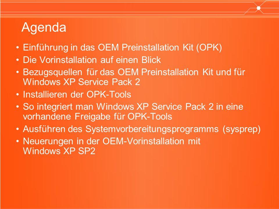 Vorteile des OEM Preinstallation Kits Vorteile Flexibilität bei der Wahl der Methode CD-basierte, netzwerkbasierte oder Peer-to-Peer-Vorinstallation Individuelle Anpassung Hinzufügen von Verknüpfungen und Markeninformationen zum Betriebssystem Hardwareflexiblität Vorinstallation von Gerätetreibern ohne integrierte Unterstützung im Betriebssystem Vorinstallation von Anwendungen Vorinstallation von Softwareprogrammen während der Installation von Windows XP Überwachungs- funktionen Testen vorinstallierter Computer ohne Unterbrechung des Vorinstallationsprozesses Einfache Bedienung und geringe Entwicklungszeit Assistentenähnliche Benutzeroberfläche ermöglicht eine einfache Einrichtung und Verwendung des OPKs; Zeitersparnis im Vergleich zu manuellen Installationen und dem Hinzufügen von Anwendungen / Treibern