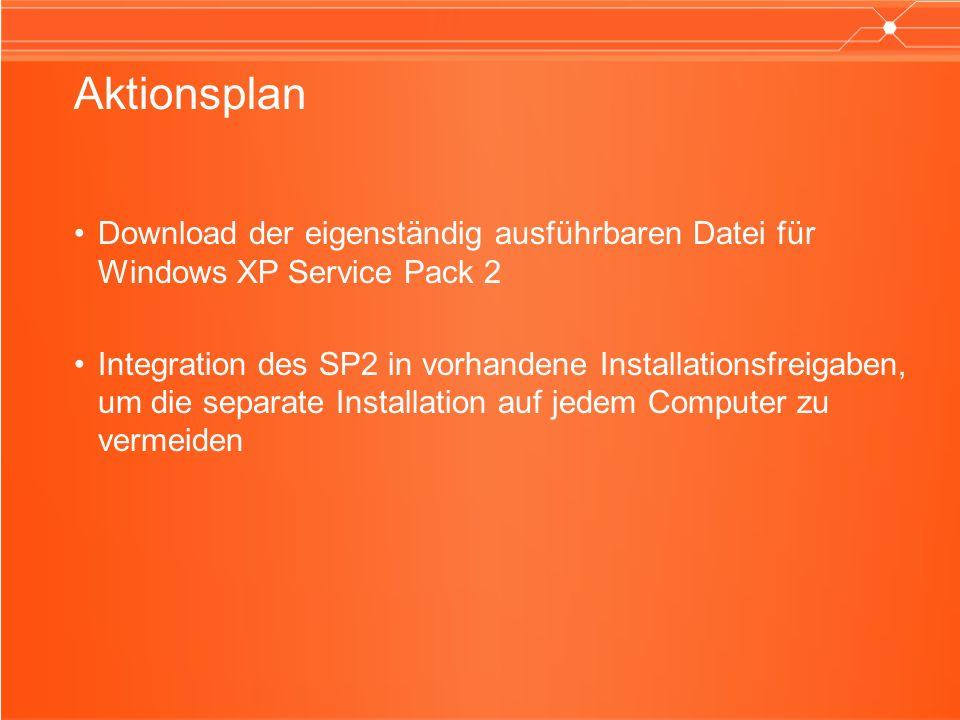 Aktionsplan Download der eigenständig ausführbaren Datei für Windows XP Service Pack 2 Integration des SP2 in vorhandene Installationsfreigaben, um di