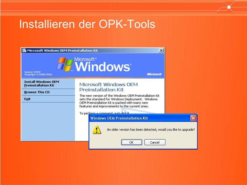 Hauptfeatures der WinPE-Übergangsversion Hardwareunabhängigkeit APIs und Skriptfunktionen Netzwerkzugriff Windows 32 Bit- und 64 Bit-Gerätezugriff NTFS-Verwaltung Hardwarediagnosefunktionen Unterstützung für PXE-Protokolle