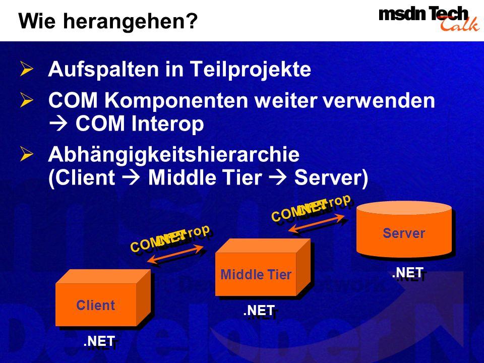 Wie herangehen? Aufspalten in Teilprojekte COM Komponenten weiter verwenden COM Interop Abhängigkeitshierarchie (Client Middle Tier Server) Client Mid