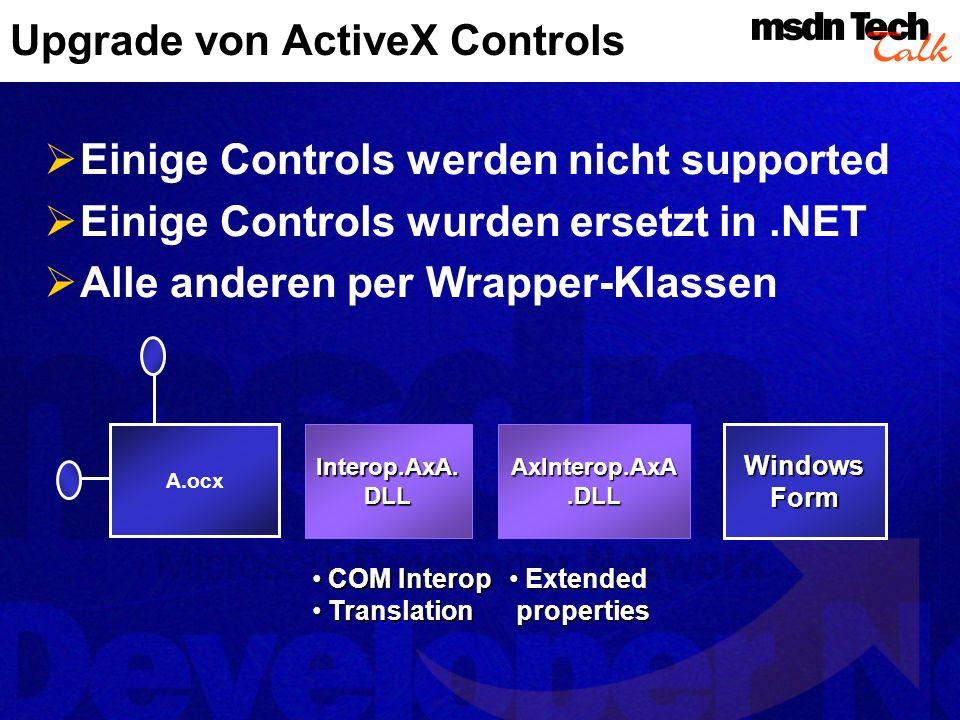 Upgrade von ActiveX Controls Einige Controls werden nicht supported Einige Controls wurden ersetzt in.NET Alle anderen per Wrapper-Klassen A.ocx Inter