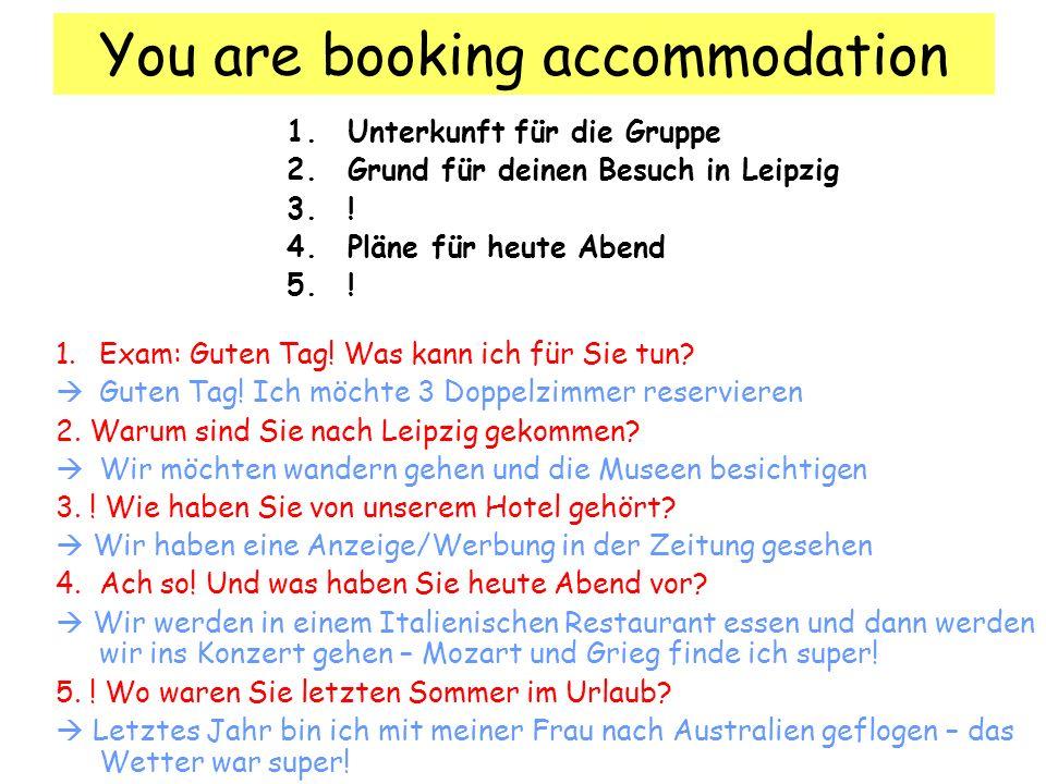 You telephone a hotel about work experience 1.Grund für den Anruf 2..