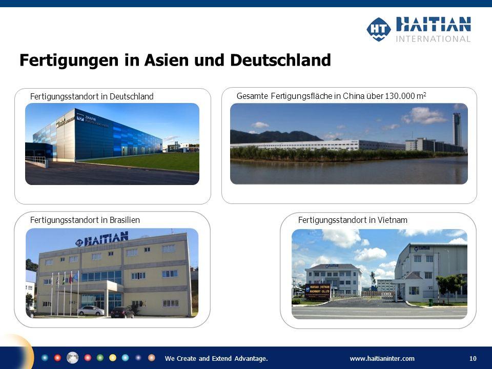 We Create and Extend Advantage.www.haitianinter.com 10 Fertigungsstandort in Deutschland Fertigungsstandort in Vietnam Fertigungen in Asien und Deutsc