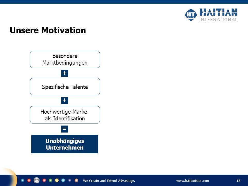We Create and Extend Advantage.www.haitianinter.com 18 Unsere Motivation Spezifische Talente Besondere Marktbedingungen Hochwertige Marke als Identifi