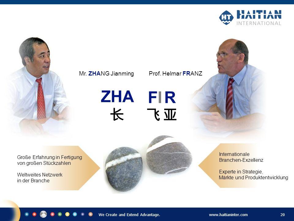 We Create and Extend Advantage.www.haitianinter.com 20 Prof. Helmar FRANZ Internationale Branchen-Exzellenz Experte in Strategie, Märkte und Produkten