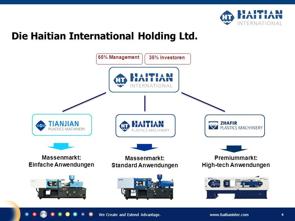 We Create and Extend Advantage.www.haitianinter.com 4 Massenmarkt: Standard Anwendungen Premiummarkt: High-tech Anwendungen Massenmarkt: Einfache Anwe