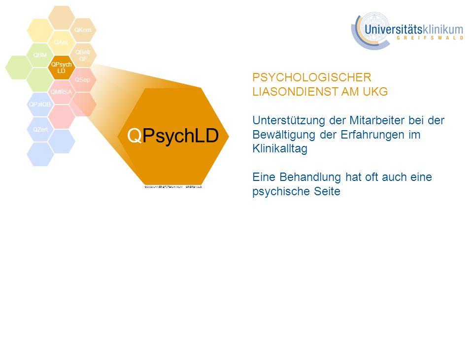 ©2008 UNIVERSITÄTSKLINIKUM GREIFSWALD PSYCHOLOGISCHER LIASONDIENST AM UKG Unterstützung der Mitarbeiter bei der Bewältigung der Erfahrungen im Klinika