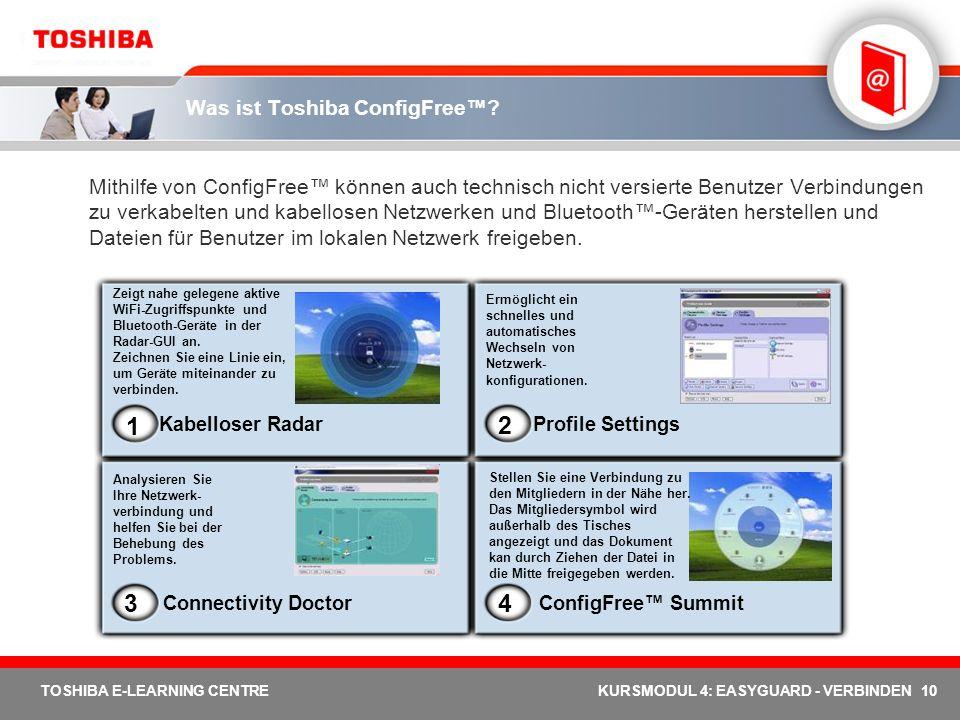 10 TOSHIBA E-LEARNING CENTREKURSMODUL 4: EASYGUARD - VERBINDEN Was ist Toshiba ConfigFree? Mithilfe von ConfigFree können auch technisch nicht versier