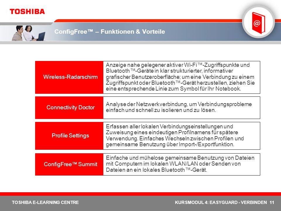 11 TOSHIBA E-LEARNING CENTREKURSMODUL 4: EASYGUARD - VERBINDEN ConfigFree – Funktionen & Vorteile Einfache und mühelose gemeinsame Benutzung von Datei