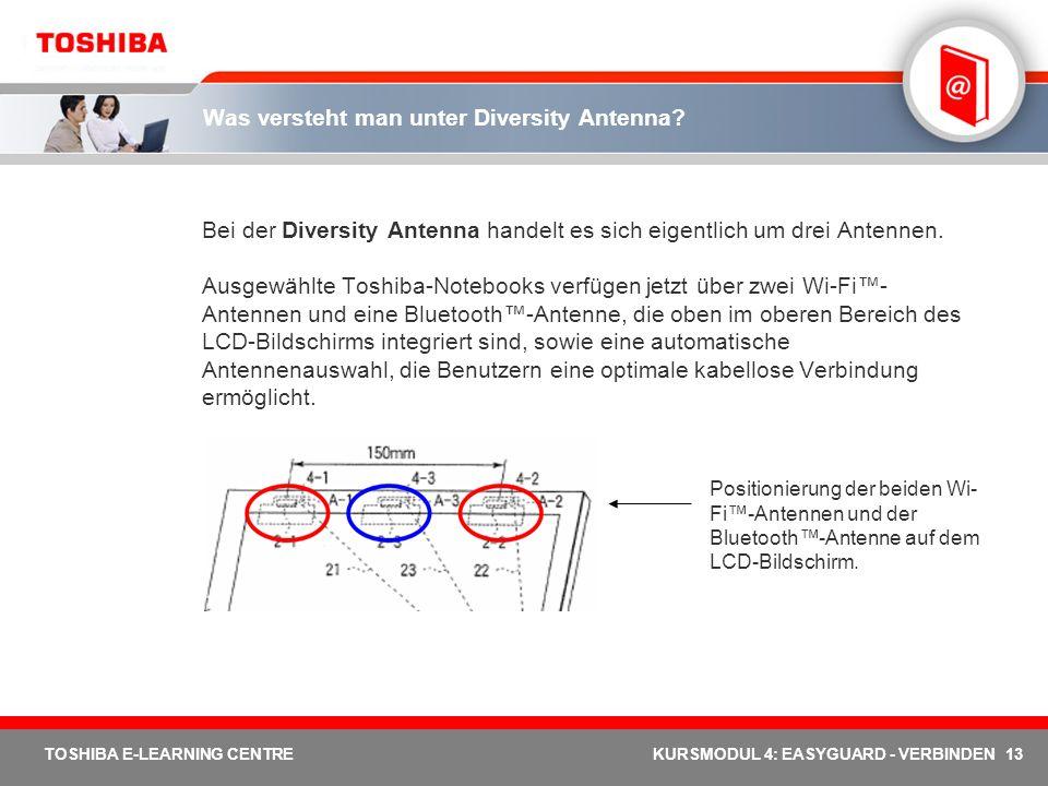 13 TOSHIBA E-LEARNING CENTREKURSMODUL 4: EASYGUARD - VERBINDEN Was versteht man unter Diversity Antenna? Bei der Diversity Antenna handelt es sich eig