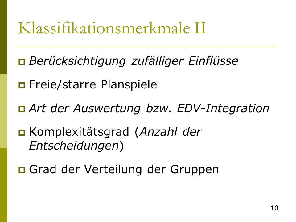 Klassifikationsmerkmale II Berücksichtigung zufälliger Einflüsse Freie/starre Planspiele Art der Auswertung bzw. EDV-Integration Komplexitätsgrad (Anz