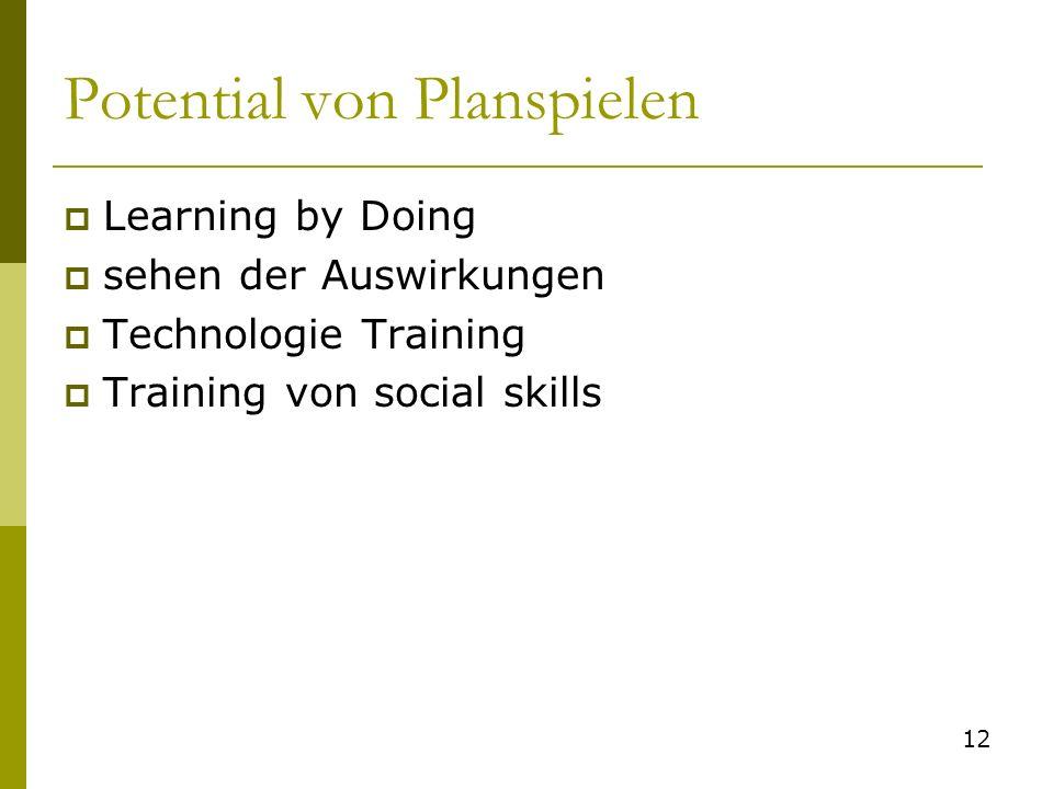 Potential von Planspielen Learning by Doing sehen der Auswirkungen Technologie Training Training von social skills 12