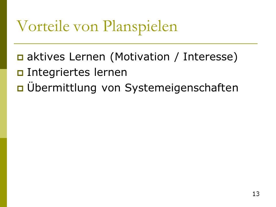 Vorteile von Planspielen aktives Lernen (Motivation / Interesse) Integriertes lernen Übermittlung von Systemeigenschaften 13