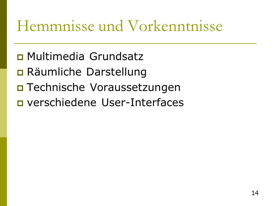 Hemmnisse und Vorkenntnisse Multimedia Grundsatz Räumliche Darstellung Technische Voraussetzungen verschiedene User-Interfaces 14