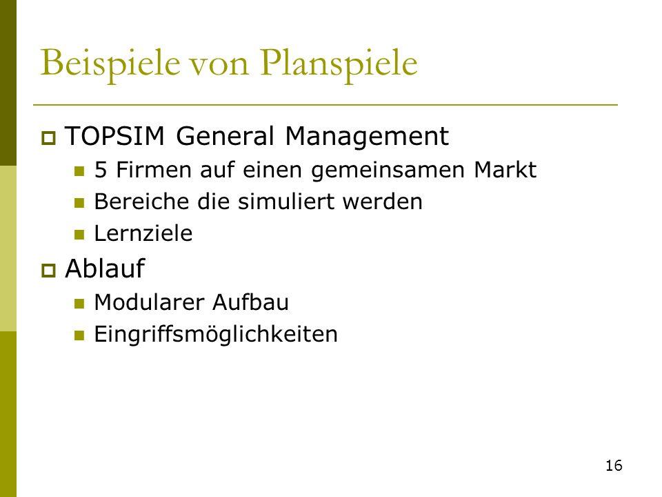 Beispiele von Planspiele TOPSIM General Management 5 Firmen auf einen gemeinsamen Markt Bereiche die simuliert werden Lernziele Ablauf Modularer Aufba