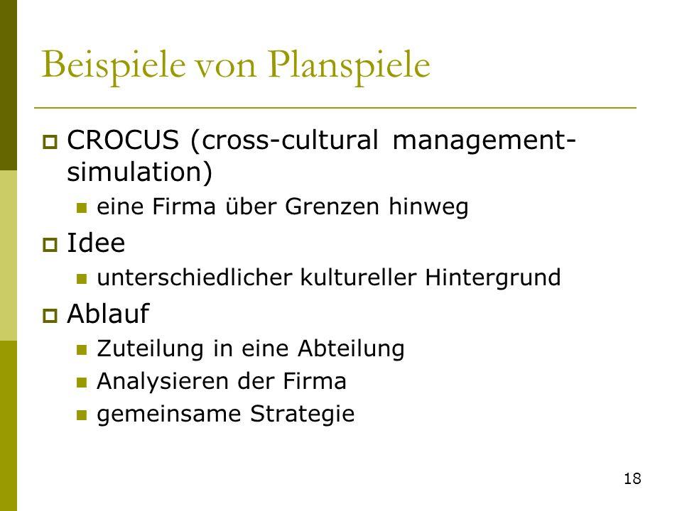 Beispiele von Planspiele CROCUS (cross-cultural management- simulation) eine Firma über Grenzen hinweg Idee unterschiedlicher kultureller Hintergrund