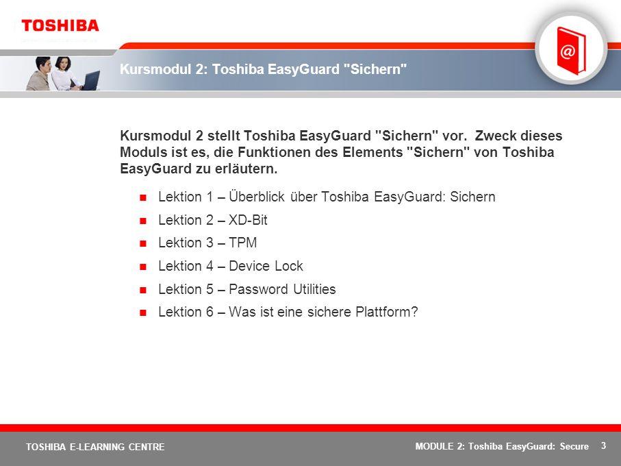 24 TOSHIBA E-LEARNING CENTRE MODULE 2: Toshiba EasyGuard: Secure Die sichere Plattform - Überblick XD-Bit Device Lock Password Utilities TPM Das Endergebnis: sichere Unternehmensdaten senken die Risiken und Kosten von Datenverlusten