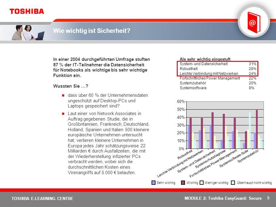 26 TOSHIBA E-LEARNING CENTRE MODULE 2: Toshiba EasyGuard: Secure Ende von Kursmodul 2: Sie haben das Modul 2 des Toshiba EasyGuard-Schulungskurses abgeschlossen.