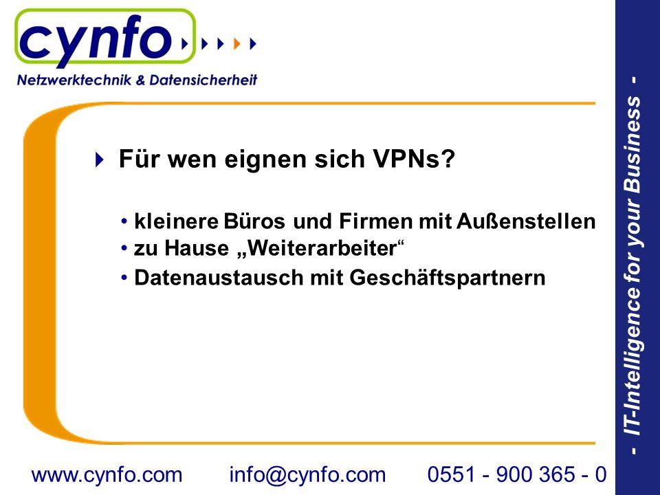 - IT-Intelligence for your Business - Für wen eignen sich VPNs? kleinere Büros und Firmen mit Außenstellen zu Hause Weiterarbeiter Datenaustausch mit