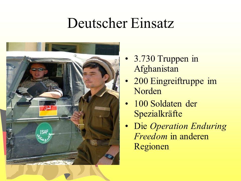 Deutscher Einsatz 3.730 Truppen in Afghanistan 200 Eingreiftruppe im Norden 100 Soldaten der Spezialkräfte Die Operation Enduring Freedom in anderen R