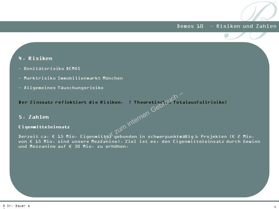 4 Demos 10 - Risiken und Zahlen © Dr. Bauer & Co. 4. Risiken - Bonitätsrisiko DEMOS - Marktrisiko Immobilienmarkt München - Allgemeines Täuschungsrisi