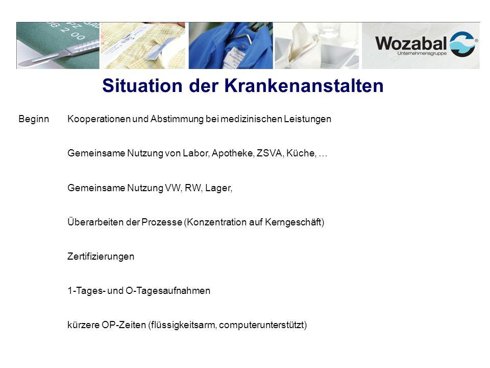 Situation der Krankenanstalten Beginn Kooperationen und Abstimmung bei medizinischen Leistungen Gemeinsame Nutzung von Labor, Apotheke, ZSVA, Küche, …