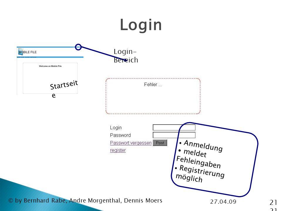27.04.09 © by Bernhard Rabe, Andre Morgenthal, Dennis Moers Login Login- Bereich Startseit e Anmeldung meldet Fehleingaben Registrierung möglich 21